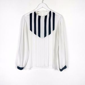 Contrasting Black and White Pleated Blouse